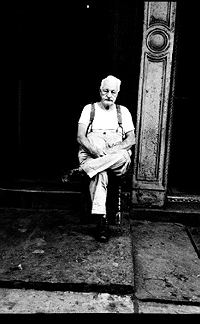 Old man in front of my $15-a-month apartment on 1st Avenue and 2nd Street nyc, while working uptown as an assistant photographer