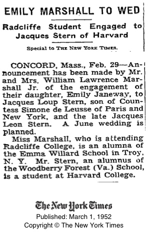 Emily Marshall to Wed, from New York Times, 1 March 1952