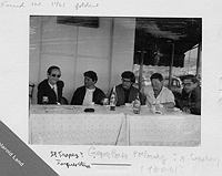 Jacques Stern, Gregory Corso, Peter Orlovsky, and Allen Ginsberg in St Tropez, 1961