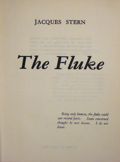 Jacques Stern, The Fluke, title page of the privately printed edition