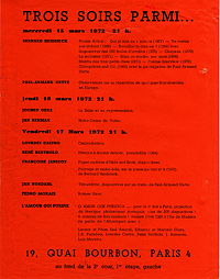 Trois Soirs Parmi... Poster for 1972 performance exhibition in Paris