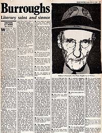 Jan Herman, Interview with William S. Burroughs, Chicago Sun Times, 1984