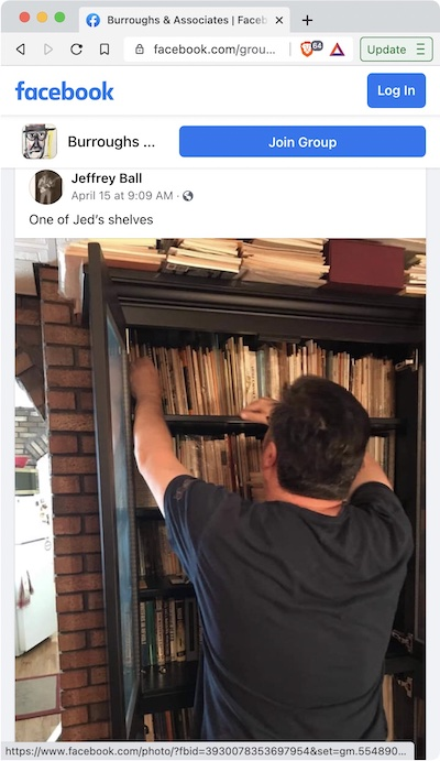 Jeff Ball - Jed Birmingham pawing in his bookshelves