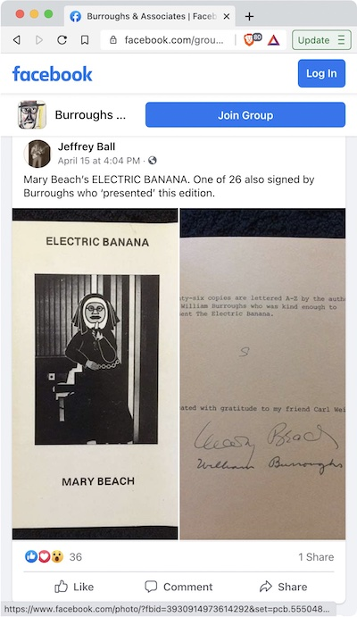 Jeff Ball - Mary Beach's Electric Banana, presentation copy signed by William S Burroughs