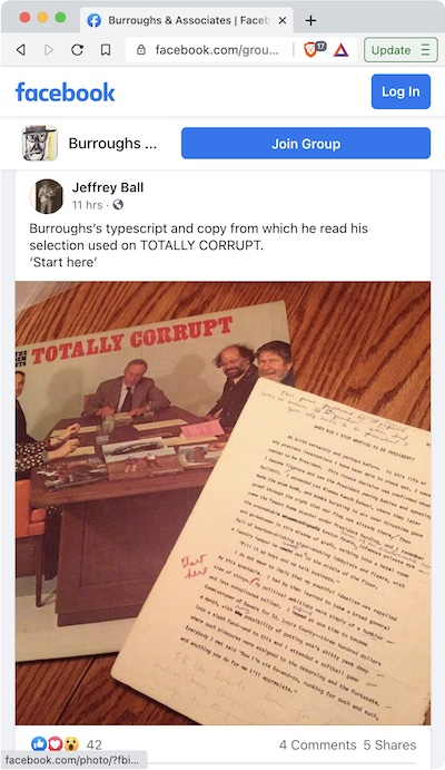 Jeff Ball - The typescript William Burroughs read from on the Totally Corrupt LP
