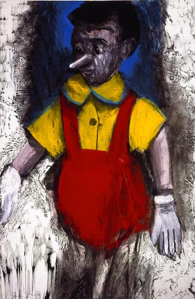 'Red Enamel Pants,' 2000.' (Photo-silkscreen, woodcut, and hand painting with enamel and charcoal. 50 x 33 inches. Edition of six.) © Pace Editions, Inc. and Jim Dine.