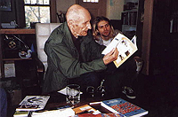 Kurt Cobain visiting William S. Burroughs at his home in Lawrence, KS.