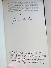 Patti Smith, Witt, colophon with inscription