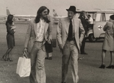 Richard Aaron and William Burroughs arriving in Geneva for the Colloque de Tanger, 1975. Photo by Lilia Aaron