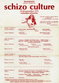 Poster for the 1975 Schizo-Culture Conference at Columbia University