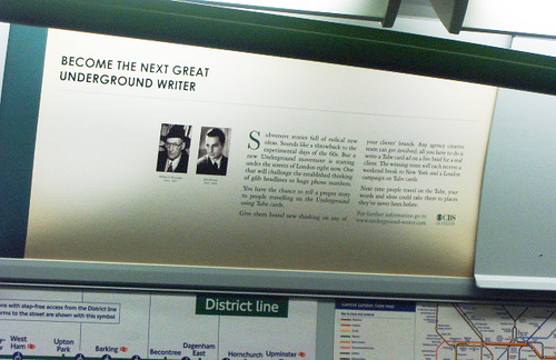 Burroughs and Kerouac on poster in the London Tube, November 2007, Art Not Ads campaign, photo by london-underground.blogspot.com